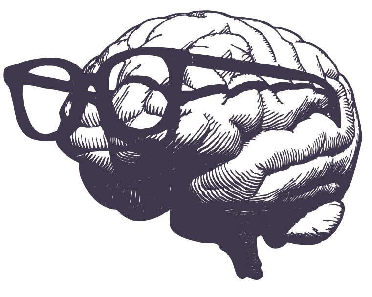 Illustration of a human brain wearing a pair of glasses.