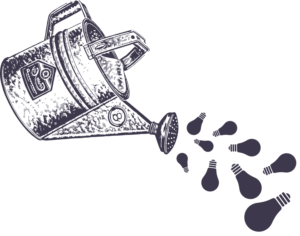 Illustration of a watering can pouring out lightbulbs.